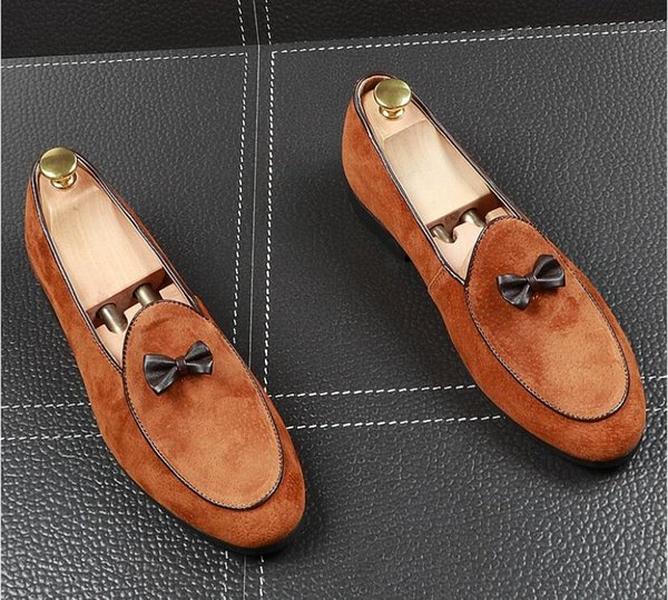 4dcfebb4 Mocasines de terciopelo de la moda para hombre de primera calidad resbalón  del dedo del pie