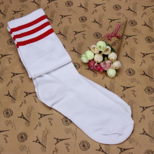 1 par de coxa meias altas Ao longo do joelho Meninas Futebol Meias fibras acrílicas das meninas stripe coxa alto do futebol esportes meia longa