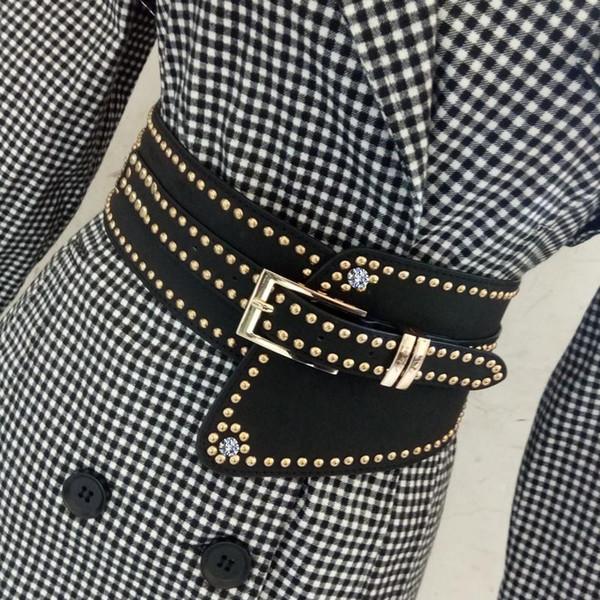 Женщины черный кожаный PU широкий ремень для платья роскошные заклепки с пряжками булавка шикарный панк эластичный пояс регулируемый широкий ремень розовый синий