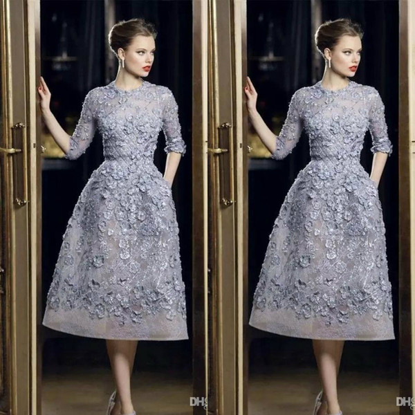 top popular Elie Saab Evening Dresses Elegant Lace Applique A-Line Prom Gowns 3 4 Long Sleeve Tea Length Sexy Formal Party Celebrity Dress Customized 2020