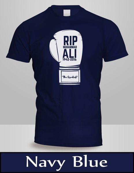 MUHAMMAD ALI Camicia MUHAMMAD ALI RIP T-Shirt Uomo Blu Navy BOXING GLOVE Tee 2 divertente t-shirt in cotone 100%