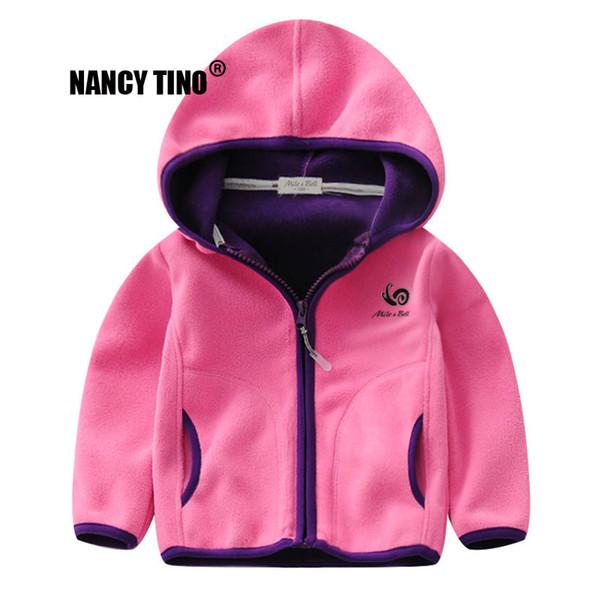Acheter NANCY TINO Polaire Vestes Filles Enfants Garçon Sport Sweats À Capuche Bébé Polaire Manteau Vêtements Doux Survêtement Enfants Chaud Vestes 2