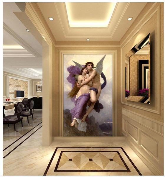 La decoración del hogar murales de papel tapiz 3d Ángeles hombres y mujeres de las pinturas famosas del petróleo pintado pared 3d