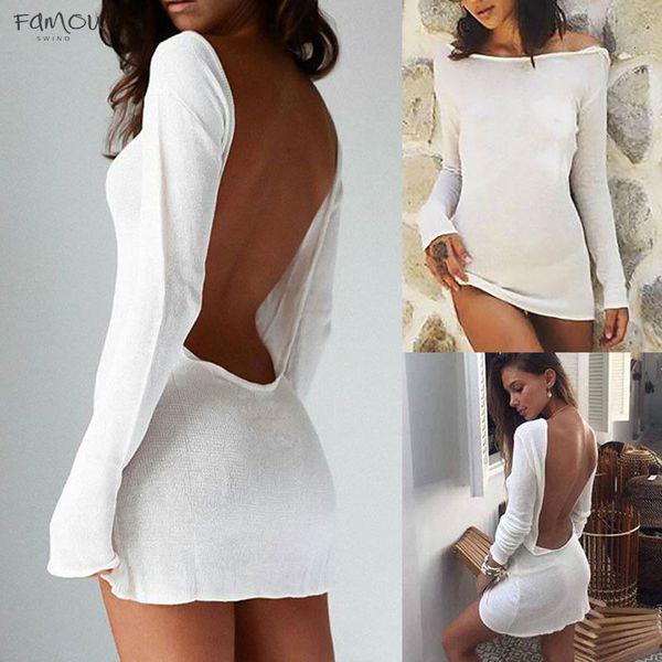 Women Fashion Ladies Summer Sexy Slim Long Sleeve Cocktail Backless Bodycon Party Short Mini Dress Good Quality Designer