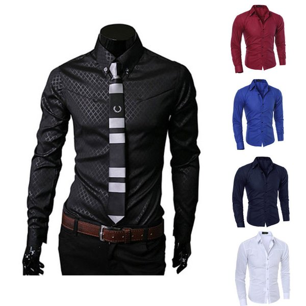 Mens Slim Fit Business Shirt Long Sleeve Dress Shirts Casual Cotton Shirt Tops Black White Red Navy Blue