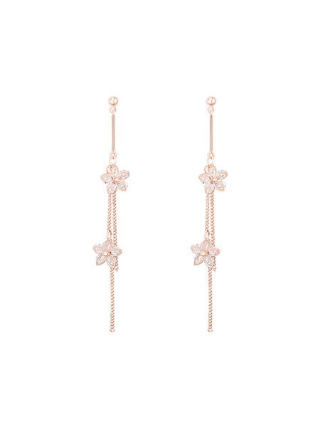 Unheard of Flower Name Soft and Smart Three-dimensional Flower tasseled Earrings Female Korean Long Zircon Ear Nails E912