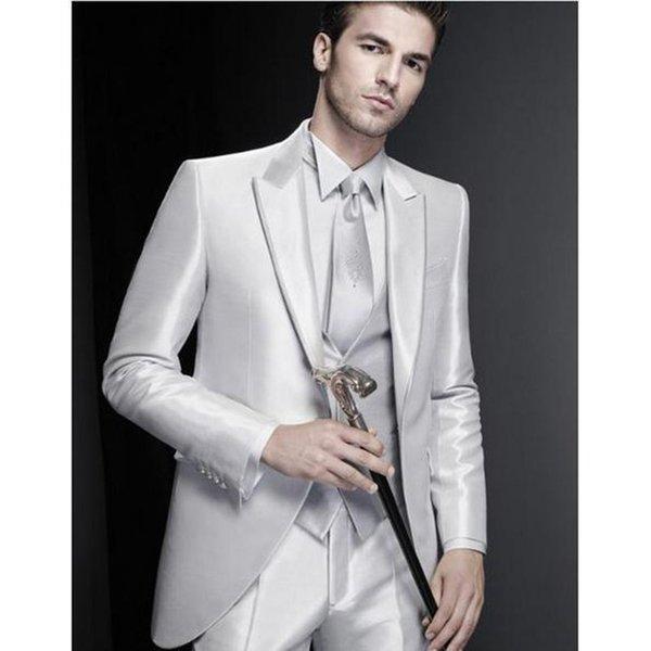 Excellent Groom Tuxedos Shinny Mens Wedding Tuxedos Fashion Man Jacket Blazer Prom/Dinner 3 Piece Suit(Jacket+Pants+Vest+Tie) 596