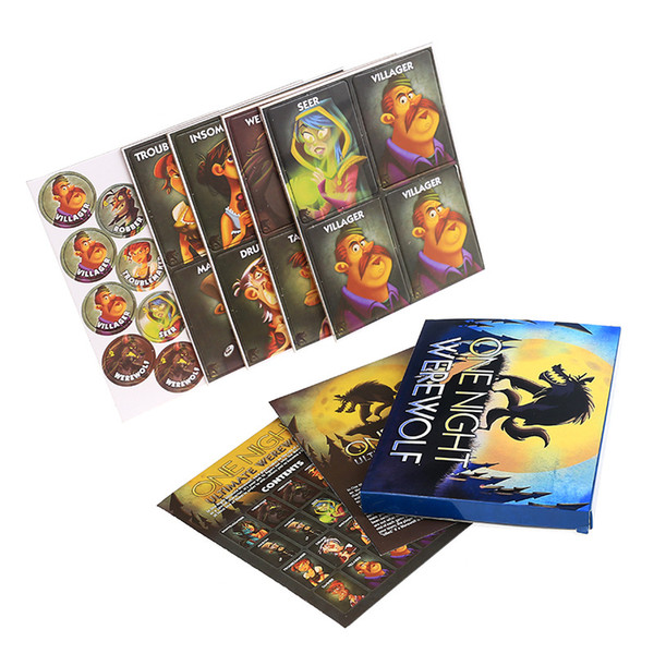 Hot Seller Popular Card Game One Night Ultimate Werewolf Art Paper With Box Birthday Party Game Christmas Gift LA001