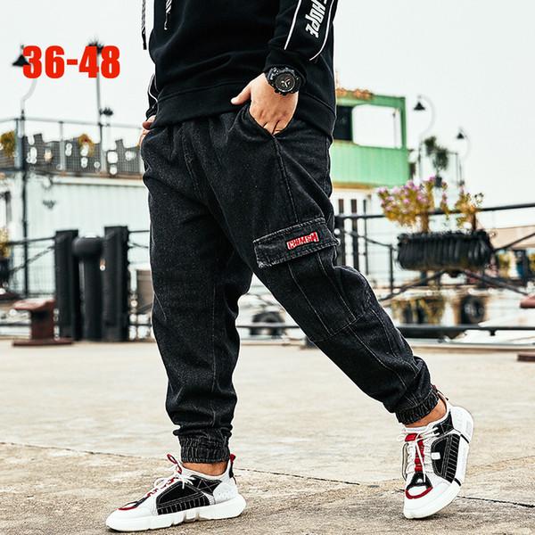 2019 Trend Black Harem Jeans Men 36-48 Big size Male denim jeans Pants Striped Cargo Pockets Fashion Plus size men Harem pants