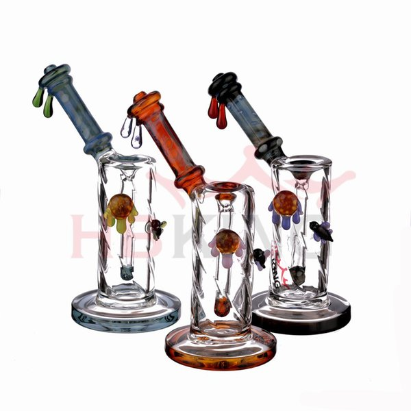 8.5 inch heady glass dab rig oil rig honey bee glass bong water pipe thick unique bubbler with 14mm bowl