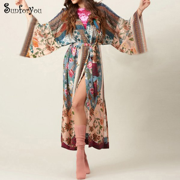 b7f6d7a8968 New Print Cotton Plus size Cover up Kaftan Beach Cover up Women Tunic  Pareos de Playa