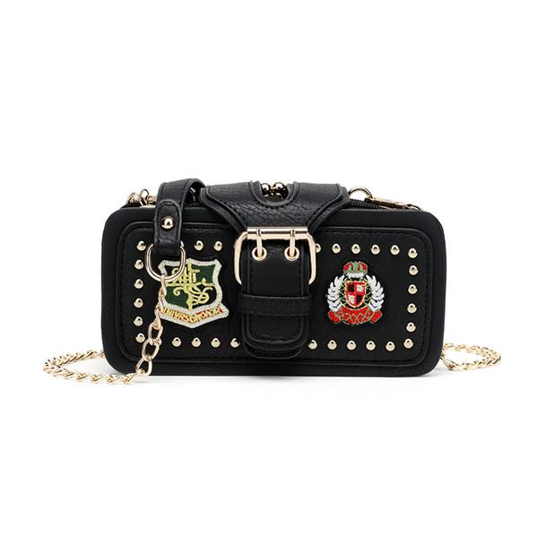 Embroidery Rivet Women Shoulder Bag Chain Strap Flap Designer Handbags Clutch Bag Ladies Messenger Bags With Metal Buckle