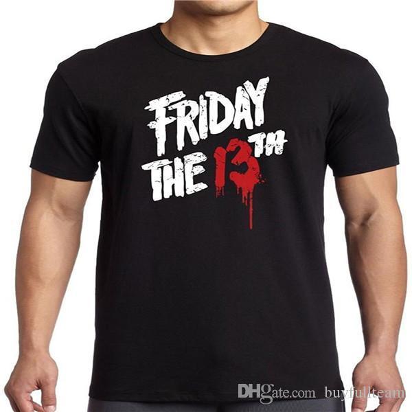 camiseta Casual sexta-feira 13 de Sangue Homme Mens Preto manga curta Tops Moda em torno do pescoço T Tamanho S M L XL 2XL 3XL