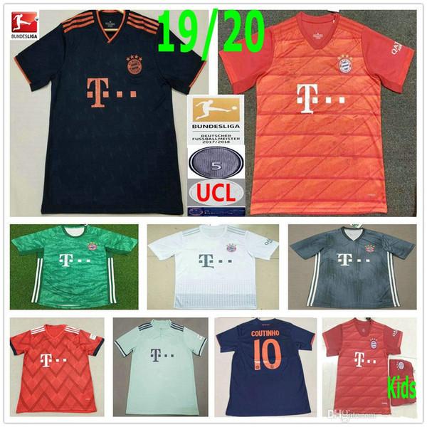 2019 2020 Bayern Munich Football Jersey 10 COUTINHO 9 LEWANDOWSKI MULLER KIMMICH PERISIC personnalisés 19 20 hommes femmes enfants maillot de football pour les jeunes