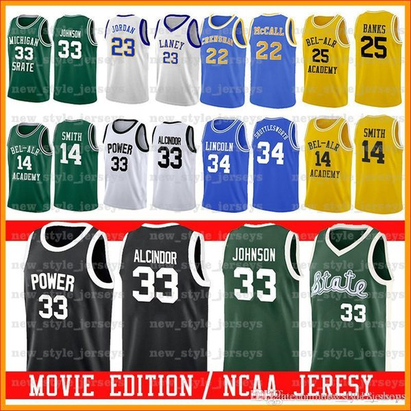 Bel-Air Academy Filme Jersey 25 Carlton Banks 14 Will Smith LANEY MICHAEL Michigan State Spartans 33 Earvin Johnson College Basketball z1