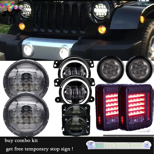"7 Inch 75w 5d LED Headlight 4"" Fog Front Turn Side Marker Tail Lamps For 07-17 Jeep JK"