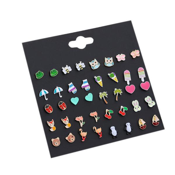 New 20 Pairs/Set Charm Cartoon Animal Heart Flowers Plants Ball Stud Earrings Set Women Girls Simple Small Earrings Party Jewelry