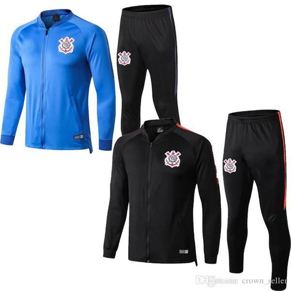 Heiße Verkäufe Corinthians Verein-Neuheiten Mens-lange Hülsenreißverschluß Jacke Frühlings-Sportkleidung für die männliche Marken-Windjacke eingestellt mit Hosen