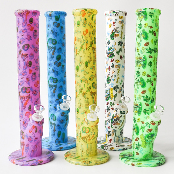 14.2inches Silicone Bongs Dab Rigs with 14.4mm Joint Silicone Water Pipes Glass Pipe Smoking Accessories for sale