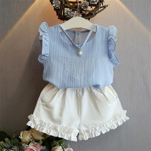 good quality Summer Kids Baby Girls Casual Style Outfits Clothes sets floral lace sleeveless T-shirt + white Shorts 2PCS Set