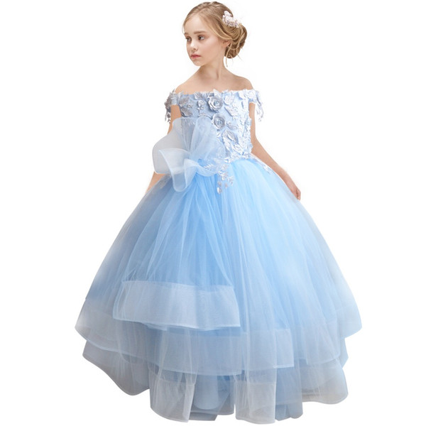 Light Sky Blue Flower Girls Dresses For Wedding Party 2019 3D Floral Flowers Lace Off the shoulder Tulle Ruffles Cheap First Communion Dress