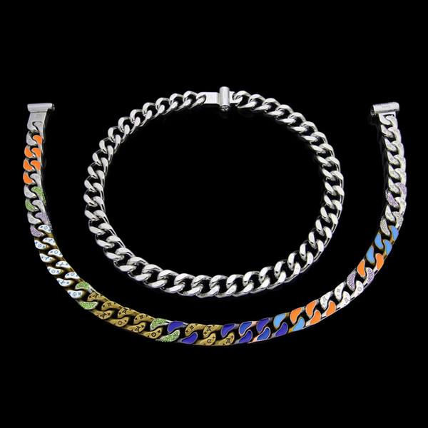 design de luxe hommes bijoux colliers hip hop argent épais collier de chaîne goutte d'huile punk acier inoxydable fleur mode chaîne imprimée