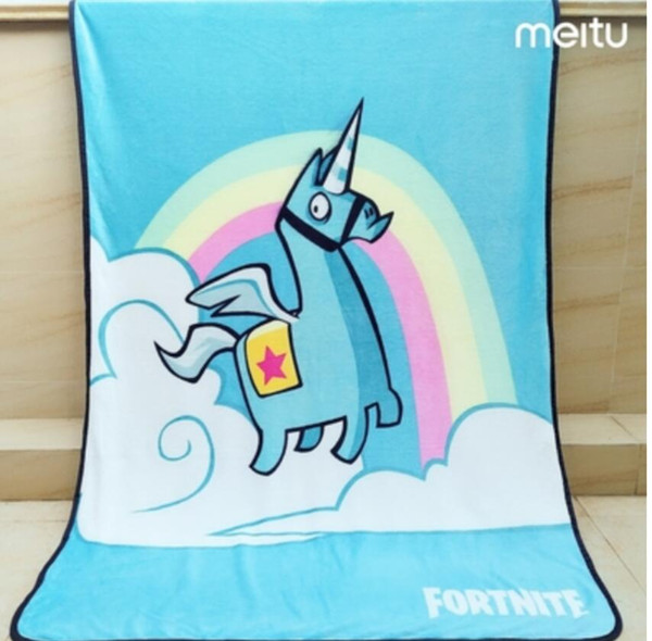 2019 NEW Hot Selling 1lot/10pcs Flannel Unicorn Cartoon fortnite Game Blue blanket 120*150cm bed sheet for Girls child Office Baby Gift