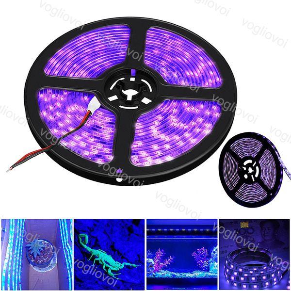 Luzes LED Strip UV 300LED roxo DC12V Led Tape Gabinete Lamp 5M / Roll 395-405nm SMD5050 Para Exterior / Interior / Stage / Casa EUB