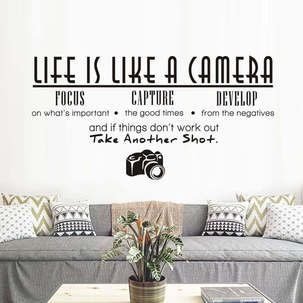 1 Pcs Life Is Like A Camera Wall Sticker Living Room Office Study PVC Removable Waterproof DIY Large Vinyl quotes Home Decor Wallpaper