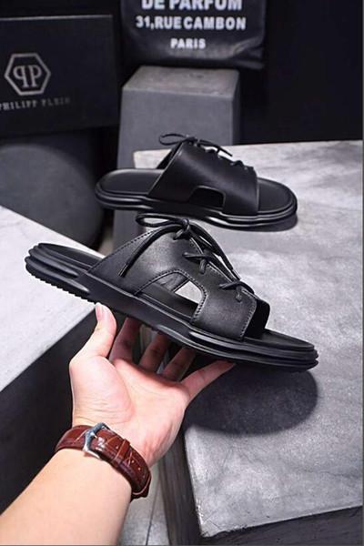 2019 NOUVEAU Designer Pantoufles Gear Bottoms Hommes Striped Sandals Casual Slip Summer Casual Pantoufles Pantoufles MEILLEURE QUALITÉ