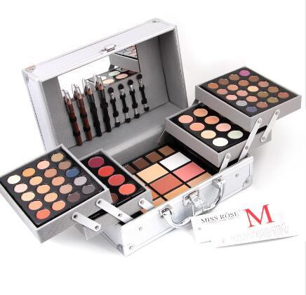 Hot MISS ROSES Professional makeup set Aluminum box with eyeshadow blush contour powder palette for makeup artist gift kit MS004