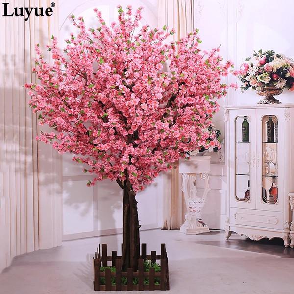 5 pedazos de las flores de durazno largo Decoración rosada de la flor artificial artificial melocotón boda Peach Blossom rama de la cereza que adorna T8190626