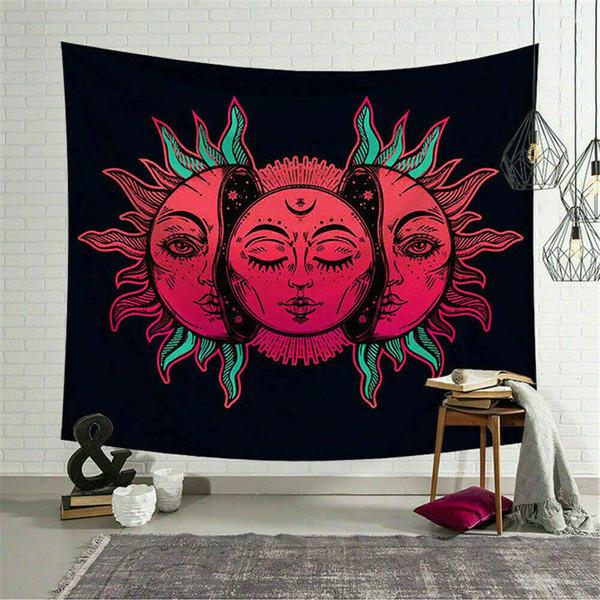 Art Chambre Hippie Mandala Tapisserie Soleil Face Imprimer Tenture murale Tapisserie Décor
