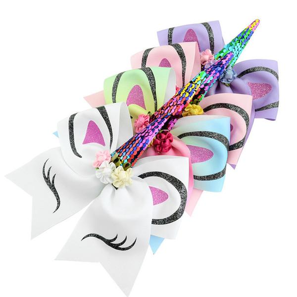 Bambini Paillettes Unicorno Hairbands Gradiente Arcobaleno Bowknot Archi Coda di cavallo Titolare Elastico Per Capelli Legami Corda Accessori Per Capelli A3112