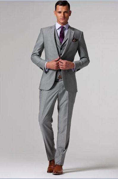 Custom Made Men's Suits 2 Buttons Double Vent Groom Tuxedos Notch Lapel Groomsman Wedding Suits (Jacket+Pants+Tie+Waistcoat) G711