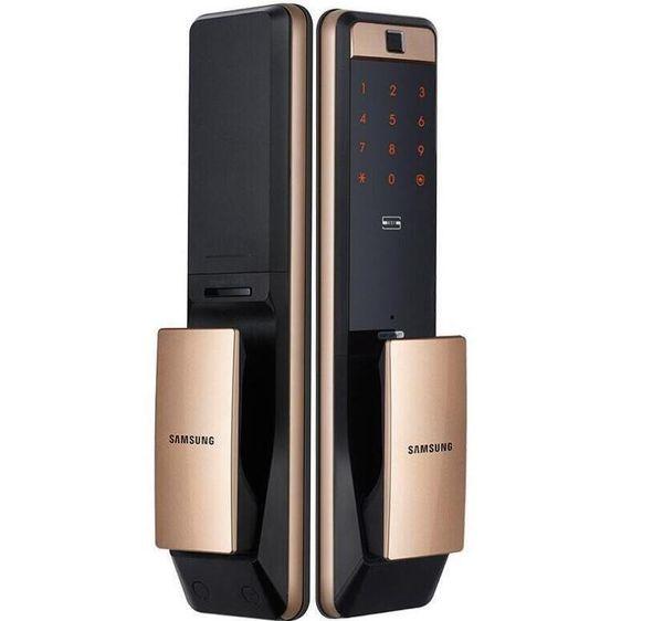 best selling 2020- SAMSUNG SHP-DP609 Keyless Fingerprint PUSH PULL Two Way Digital Door Lock English Version Big Mortise Gold Color