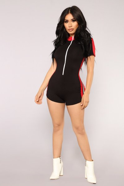 Mode Spleißen engen sexy Overall kurzen Strampler Womens Jumpsuit Bandage Kurzarm Nachtclub Party Bodycon Jumpsuit