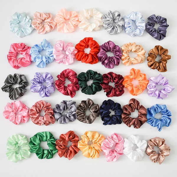 top popular Solid Lady Hair Scrunchies Ring Elastic Hair Bands Pure Color Bobble Sports Dance Soft Charming Hair Accessories 2019