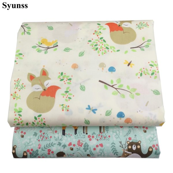 Syunss Cartoon Bear Arrow Printed Cotton Fabric DIY Handmade Sewing Patchwork Baby Cloth Bedding Textile Quilting Tilda Tissus