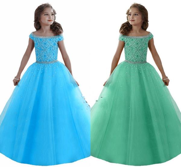 Maßgeschneiderte schöne Mädchen Festzug Kleider aus Schultern Kristalle Perlen Korsett zurück Blumenmädchen Kleider Organza Kids Formal Wear