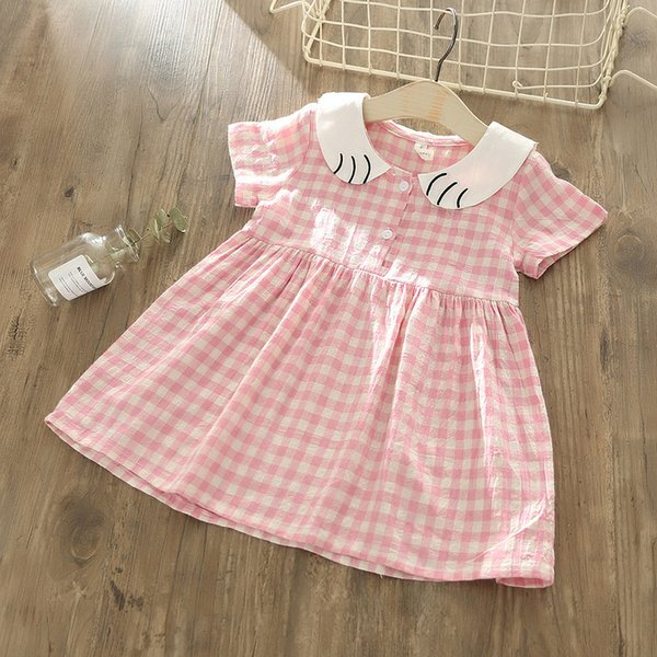 Kleinkind Mädchen Plaid Kleid Baby Kleidung 2019 Sommer koreanische neue Kinder Kleider für Mädchen Baby schöne rosa Kleid für Kleinkind Mädchen 2-6Y