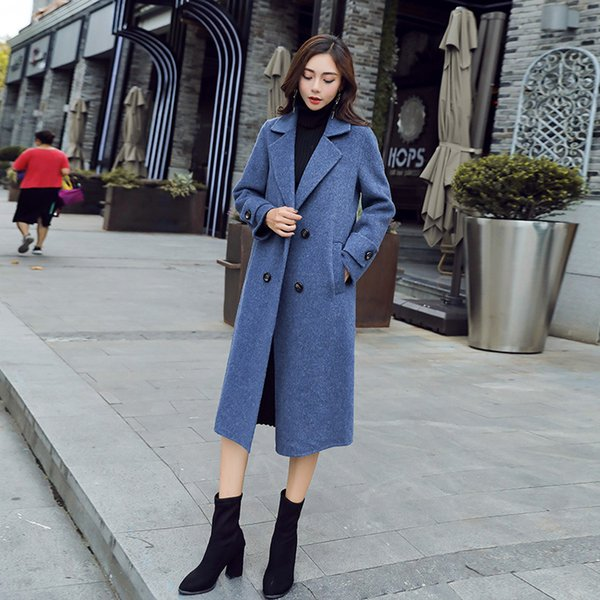 Autumn and winter woolen coat in the long section 2019 Korean version of the tide fog indigo ladies thickening woolen coat