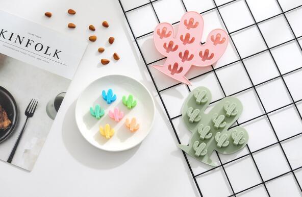 Kaktüs ile 8 silikon kek kalıbı DIY çikolata kalıp buz ızgara kalıp
