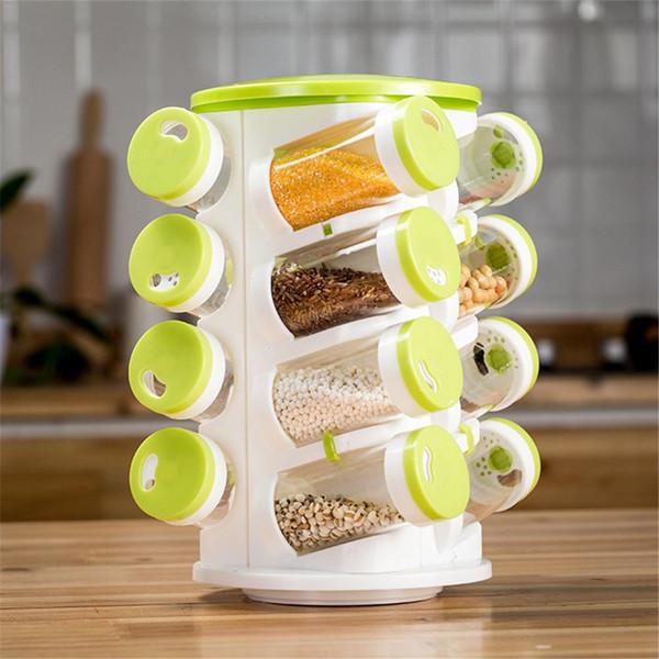 Spice Jar Pepper Shaker Box Seasoning Cans Pepper Salt Cruet Plastic Bottle Kitchen Spice Rack Set 26pcs Jars + 1pc Rack Holder