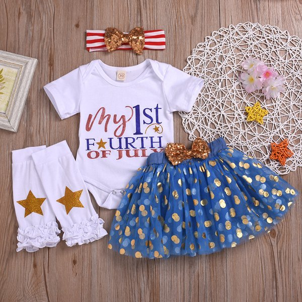 Infant Newborn Baby Girls Independence Day 4Pcs Outfit Tutu Dress Short Sleeve Romper Skirt Leggings Headband Clothes Set