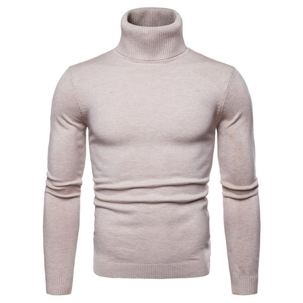 Mens Autumn Winter Sweaters Fashion Solid Panelled Sweaters Long Sleeved Knitted Turtle Neck Sweatshirts Casual Slim Mens Clothing