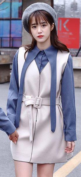 bleu et long beige