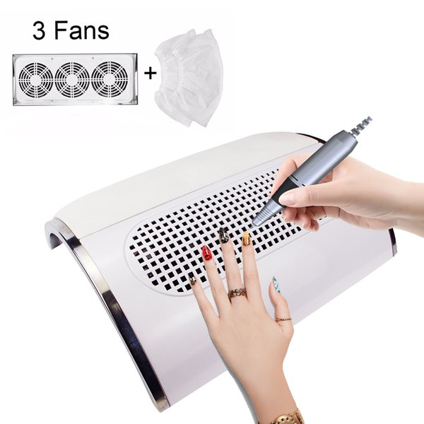 3 Fans Powerful Nail Dust Suction Collector Big size Low Noisy Nail Dust Vacuum Cleaner Machine Manicure Salon Tool 2 bag