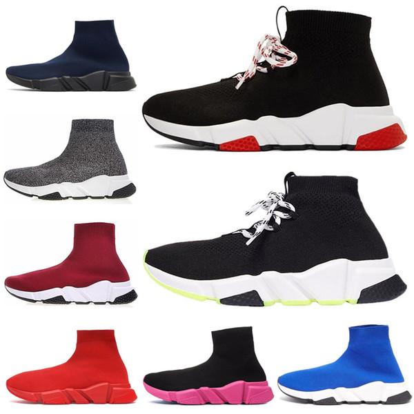 2020 concepteur Chaussures formateur Speed Bule rouge blanc noir hommes plat Mode féminine Chaussettes Chaussures de sport mode Formateurs Chaussures Casual
