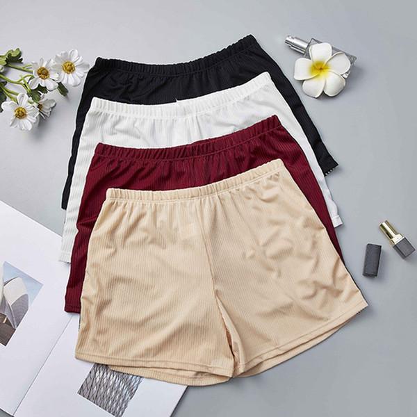 Mujeres Color sólido Elástico Cómodo Suave Pantalones Calientes Femeninos Más Tamaño Sin Costura Bajo Pantalones Cortos de Seguridad Medias Cortas Nueva Ropa Interior Femme
